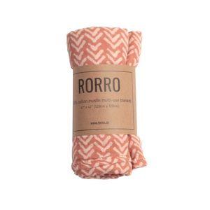 Terra-cotta Mudcloth Muslin Swaddle Blanket